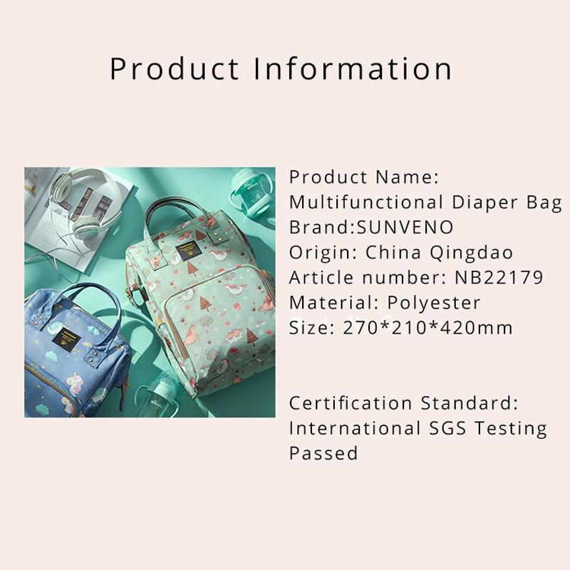 SUNVENO Mummy Maternity Diaper Nappy Väska Organisera Stor Kapacitet - Blöjor och potträning - Foto 2