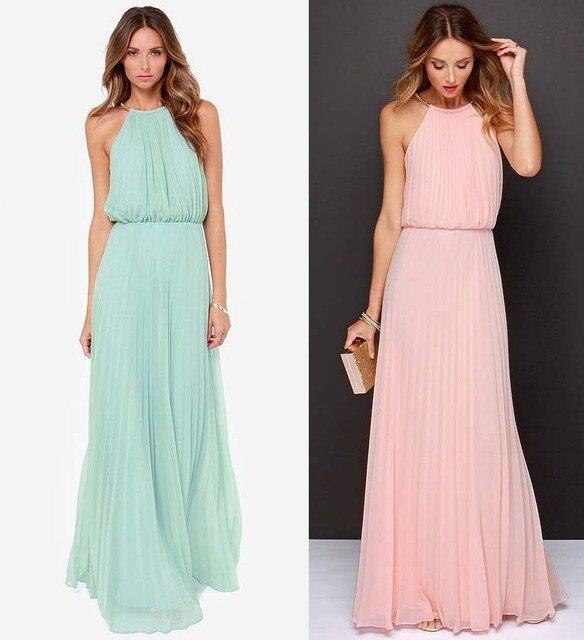 5336bd57da19 2016 New Fashion Long Casual Dress Women Maxi Dress stitching Chiffon  Sleeveless Sexy Dresses