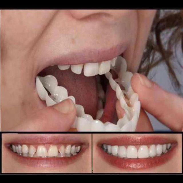Dientes falsos de la parte superior de la cubierta del diente falso Snap en La sonrisa inmediata cuidado de la dentadura Cuidado Oral plástico blanqueamiento dientes