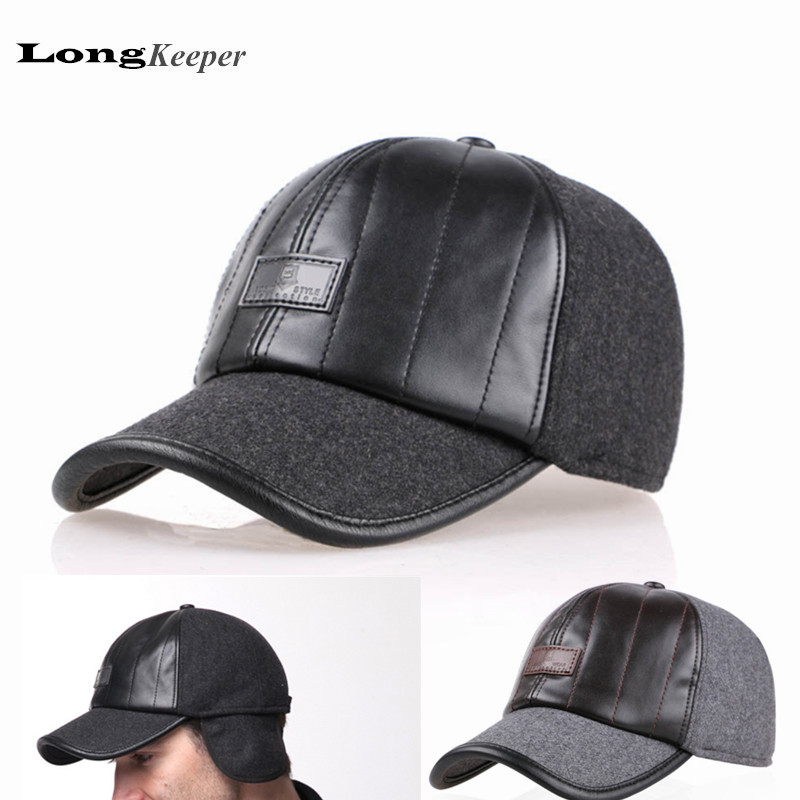 LongKeeper New PU Leather Caps Cotton Woolen Winter Hats Fabric Hat Thicken Warm Earmuffs Baseball Cap With Ear Flap AA04