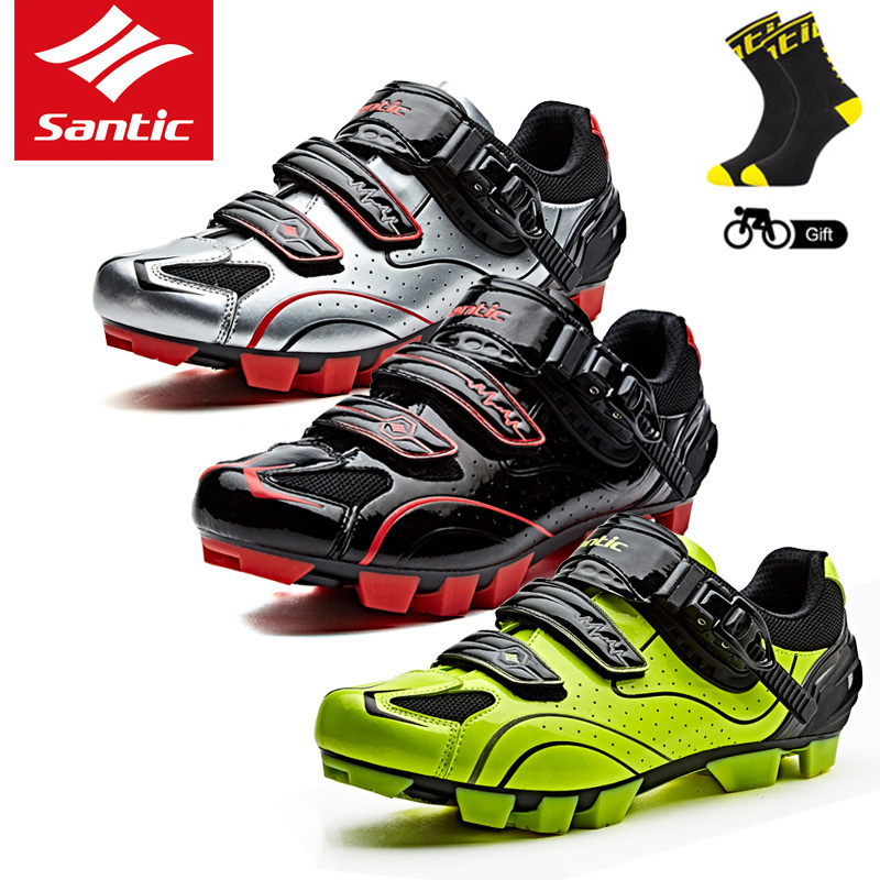 Santic New Men Cycling Shoes MTB Shoes Cycling Sneakers Athletic Racing Bicycle Shoes Mountain Bike Shoes