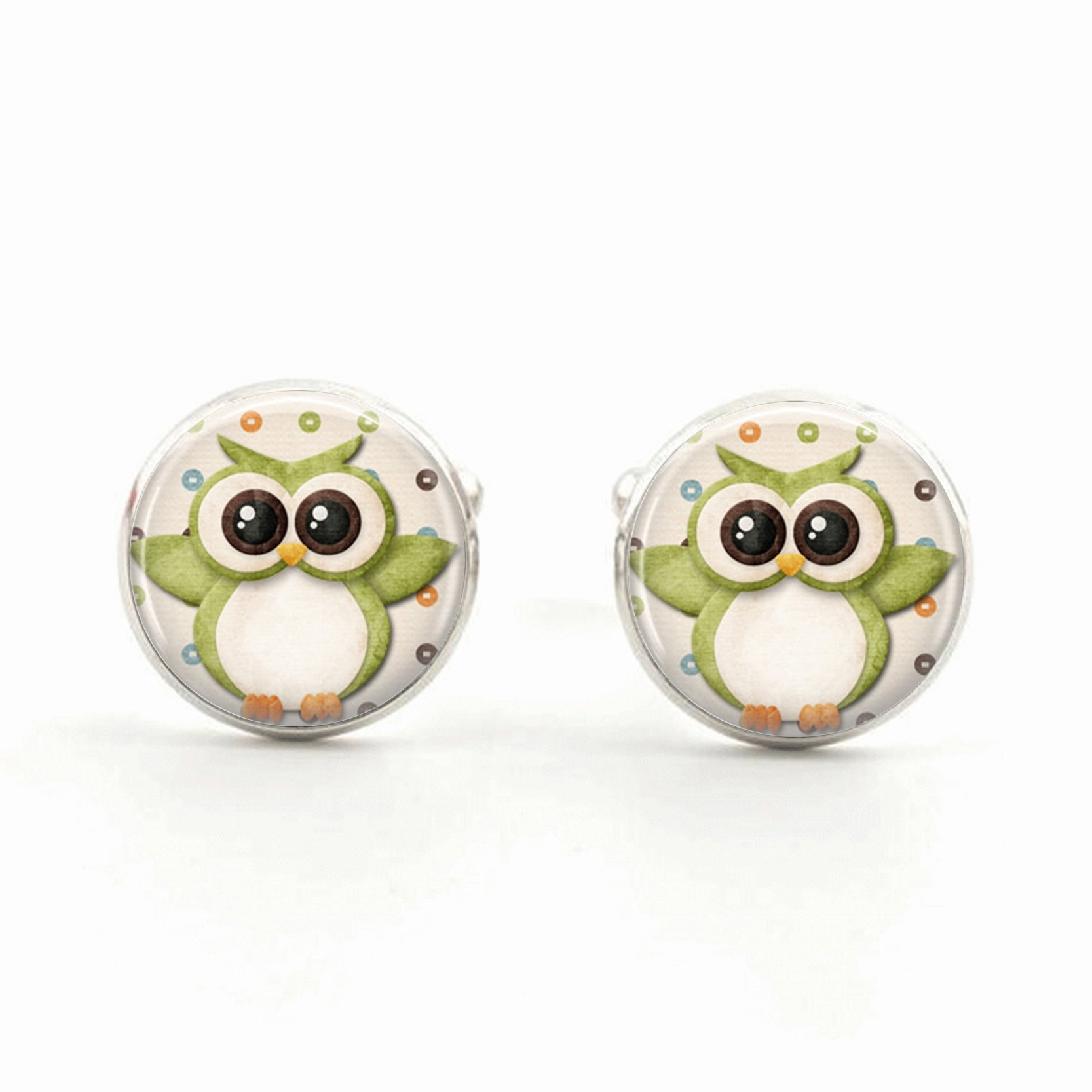 Cute Owl Jewelry Owl Cufflinks Car Toon Owl Glass Pendant Owl Glass Cabochon Cufflinks Christmas Gift for Children for Men