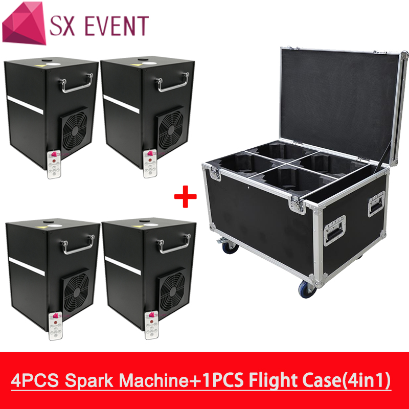 4 Pieces Machine With Flycase 400w Customize logo firework spark fountain 5m Indoor Wedding Fireworks Fountain Sparklers Machine