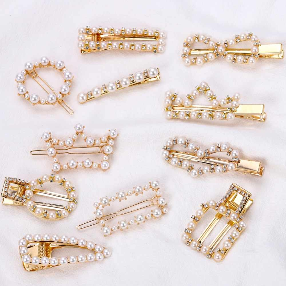 Dvacaman Pearl Bride Hair Clip for Wedding Korean Trendy Bobby Pins Hair Accessories Jewelry Wholesale Women Girls Barrettes INS