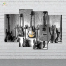 Guitars On the Wall Picture And Poster Canvas Painting Modern Art Print Pop Pictures For Living Room 3 PIECES