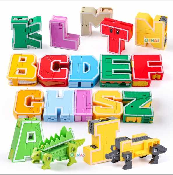 English Letters LegoINGs Transformer Alphabet Robot Animal Creative Educational Action Figure Building Blocks Model Toys Gift