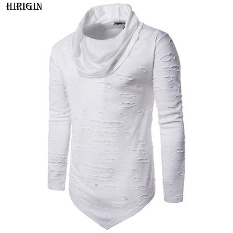 New Style in Autumn 2017 Ripped Mens Casual Hoodies Slim Fit O Neck Muscle Top Long Sleeve Sweatshirt Cotton Summer Hoodie