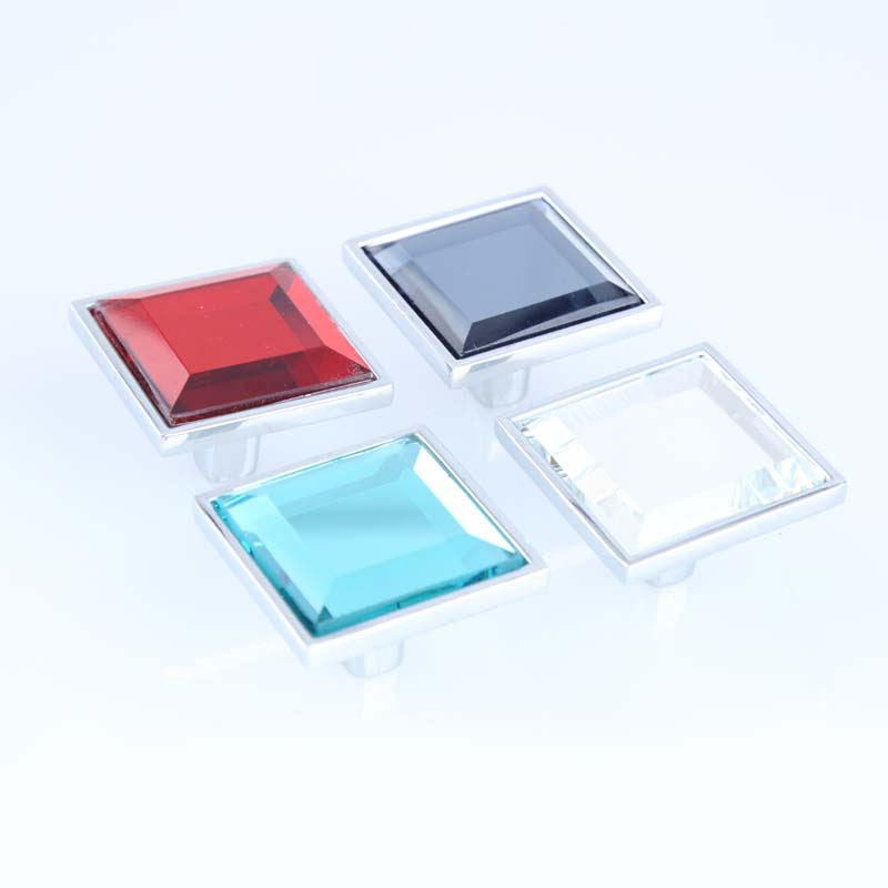 32mm Square Red Clear Gray Seablue Glass Crystal Drawer Cabinet Knobs Pulls Silver Chrome Dresser Kitchen Cabinet Door Handles