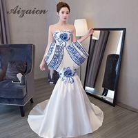 Luxury Trailing Evening Dress Mermaid Ball Gown Chinese Oriental Dresses Qipao Long Cheongsam Wedding Awards Grand Formal Dress