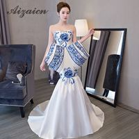 Luxury Trailing Evening Dress Mermaid Ball Gown Chinese Oriental Dresses Qipao Long Cheongsam Wedding Awards Grand Formal Dress