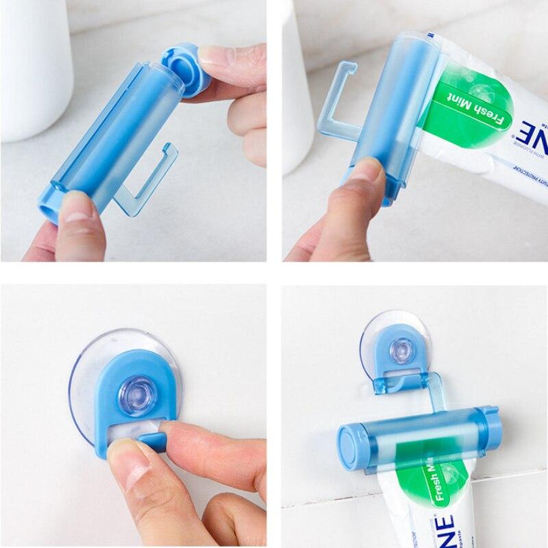 Dental Cream Bathroom Accessories Manual Syringe Gun Dispenser Rolling Squeezer Toothpaste Dispenser Tube Sucker Holder 3