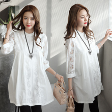 Elegant Pregnant Women Tops Lace White Shirts Fashion Solid Hollow Out Maternity Blouses Plus Size M~XXL Party Clothes