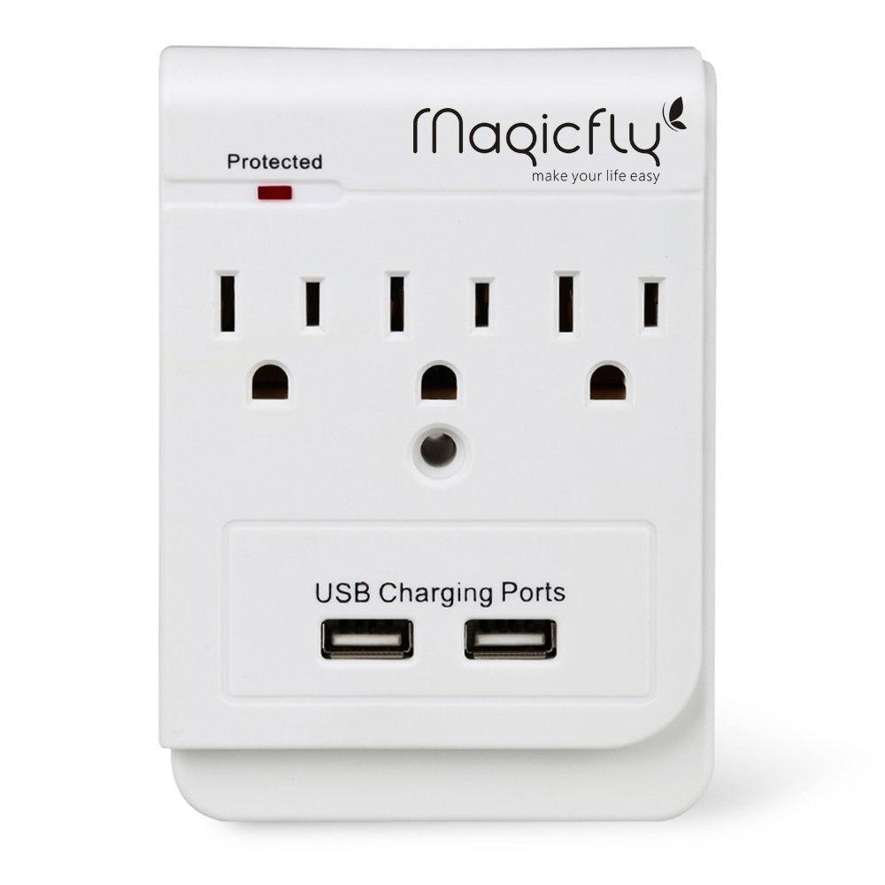 Magicfly Kunst 3 AC Steckdose mit Dual USB Lade Port Elektrische Wand Montiert Outlet Steckdosen mit Sicherheit Protector Licht