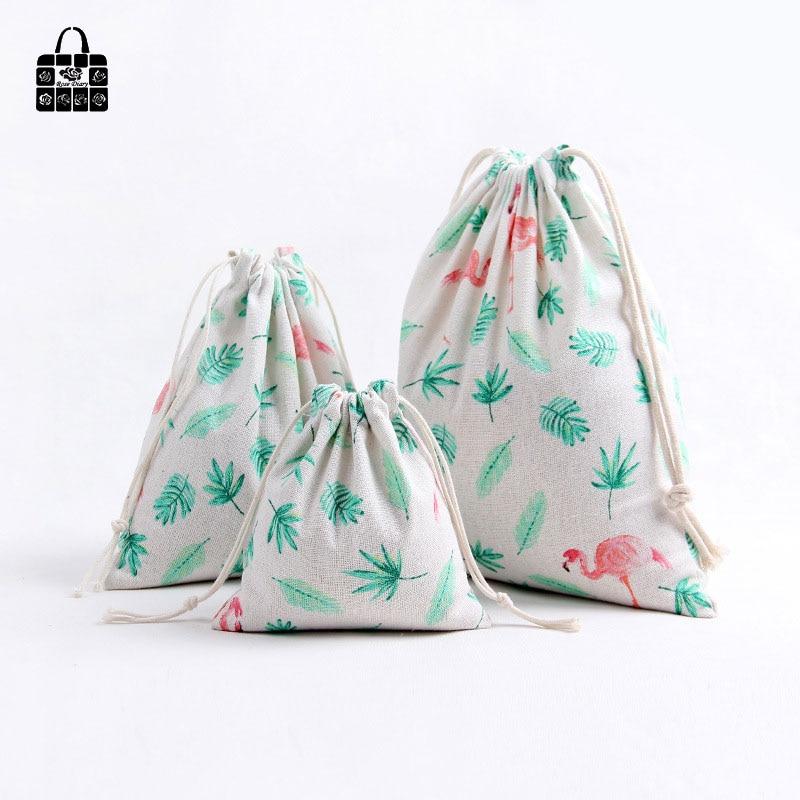 1pcs Green leaf flamingo 100% Cotton Bunch Pocket Travel Accessories Clothing Toys Storage Bag Organizers Bag Multi-Function Bag multi function green