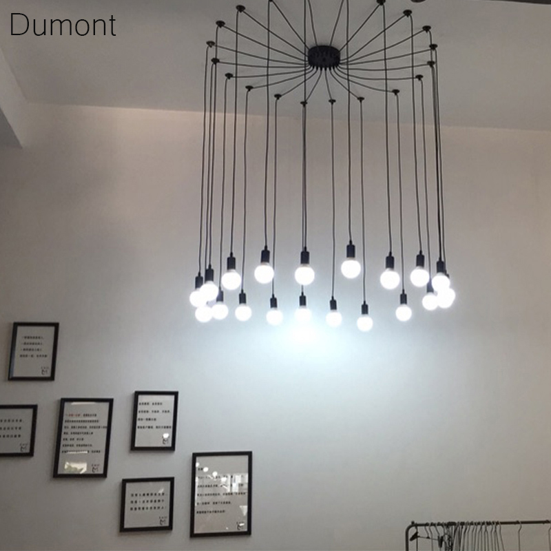 Modern Nordic Retro Edison Bulb Light Chandelier Vintage Loft Antique Adjustable DIY E27 Art Spider Pendant Lamp Home Lighting diy vintage lamps antique art spider pendant lights modern retro e27 edison bulb 2 meters line home lighting suspension