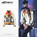 Justin Bieber with high street palm beach collar couples qiu dong outfit cardigan jacket, men and women