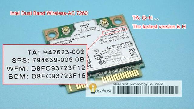 Новый для Intel 7260 Intel7260 7260AC 7260HMW 2.4 & 5 Г 867 М BT4.0 MiniPCIe WiFi Беспроводной Сетевой Карты