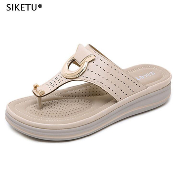 Ladies Flipflop Cork Leather Slipper Women Home Shoes Office Slippers Beach Summer Flip Flops Sandalias De Verano Para Mujer c60 1