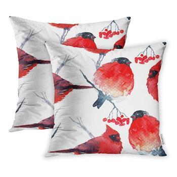 Funda de almohada 18x18 pulgadas Pájaro Rojo invierno bullpinch y acuarela Cardinal funda para almohada de Navidad