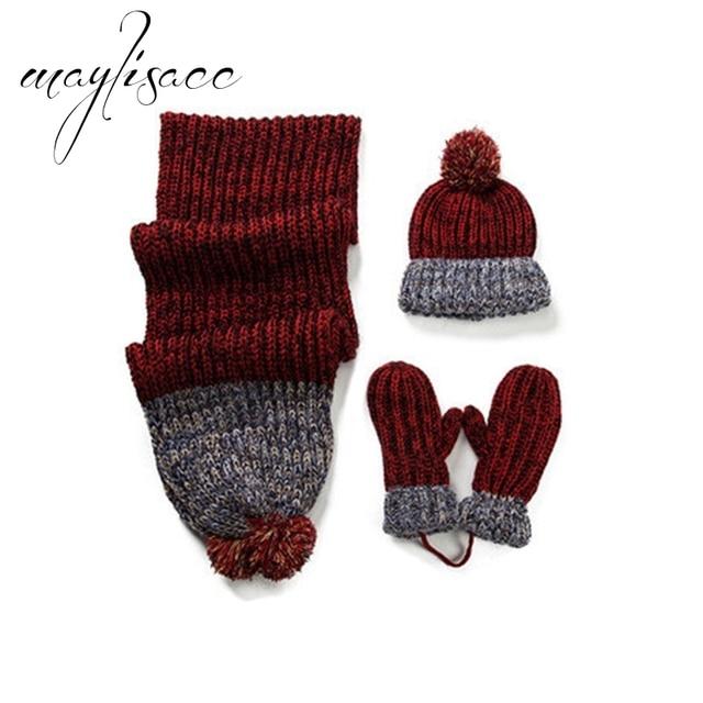 Maylisacc alta calidad 3 piezas mujeres invierno cálido gorro de punto  bufanda con guantes para mujeres c701e32a7f0