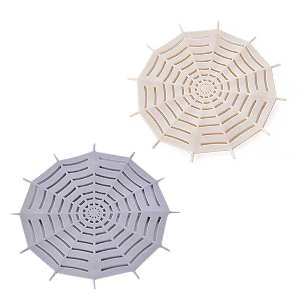 2 PCS Spider Web Sink Strainer Bathroom Kitchen Drainer Filter Hair Stopper Basin Filter with Suckers (Beige+Grey)