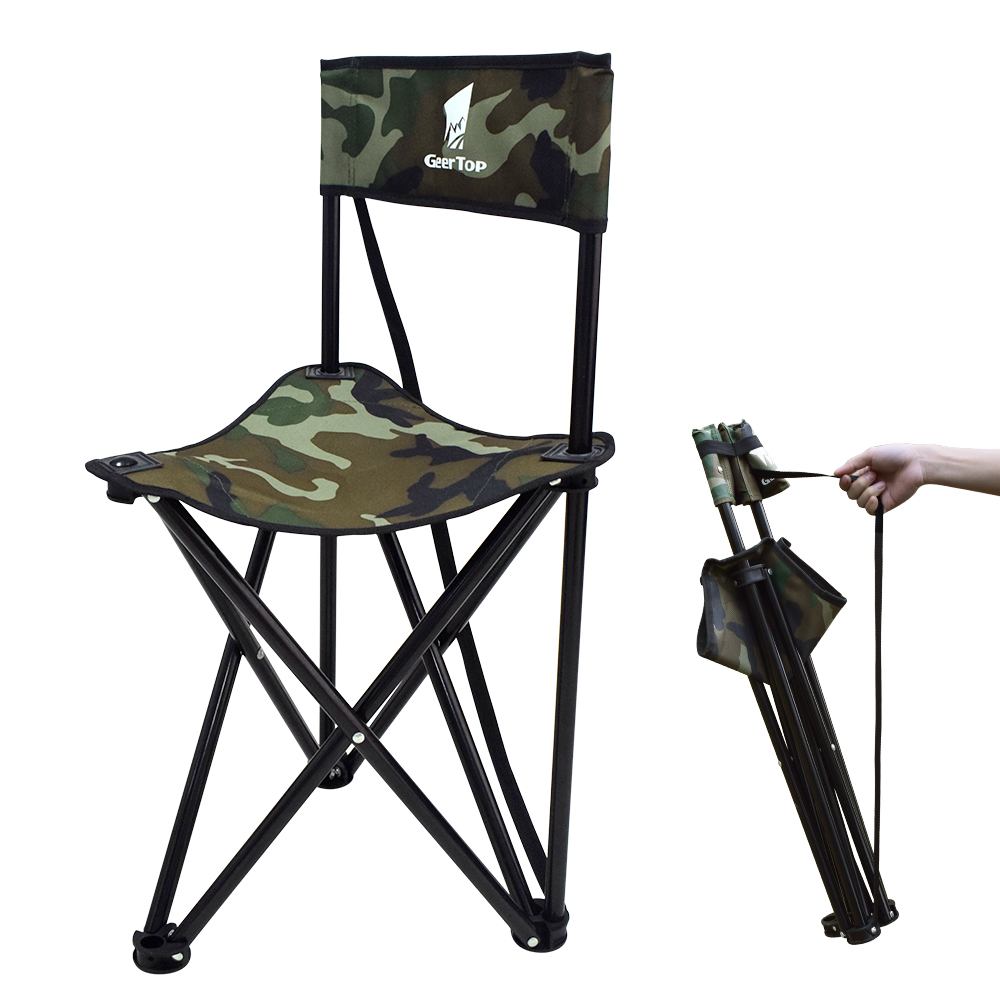 GeerTop Backrest Folding Camping Chair Fishing Beach Tripod Stool Compact Portable Aluminum Seat with Shoulder Strap for Outdoor|Tent Accessories| |  - title=