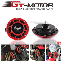 GT Motor 12V 11DB Universal Red Grille Mount Super Tone Loud Compact Dual Tone Electric Motorcycle