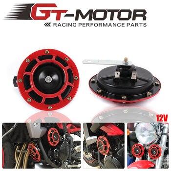 Motor GT-12 V 11DB montura de rejilla roja Universal Super tono fuerte compacto de doble tono eléctrico de la motocicleta del aire del coche kit de bocina de tono de explosión