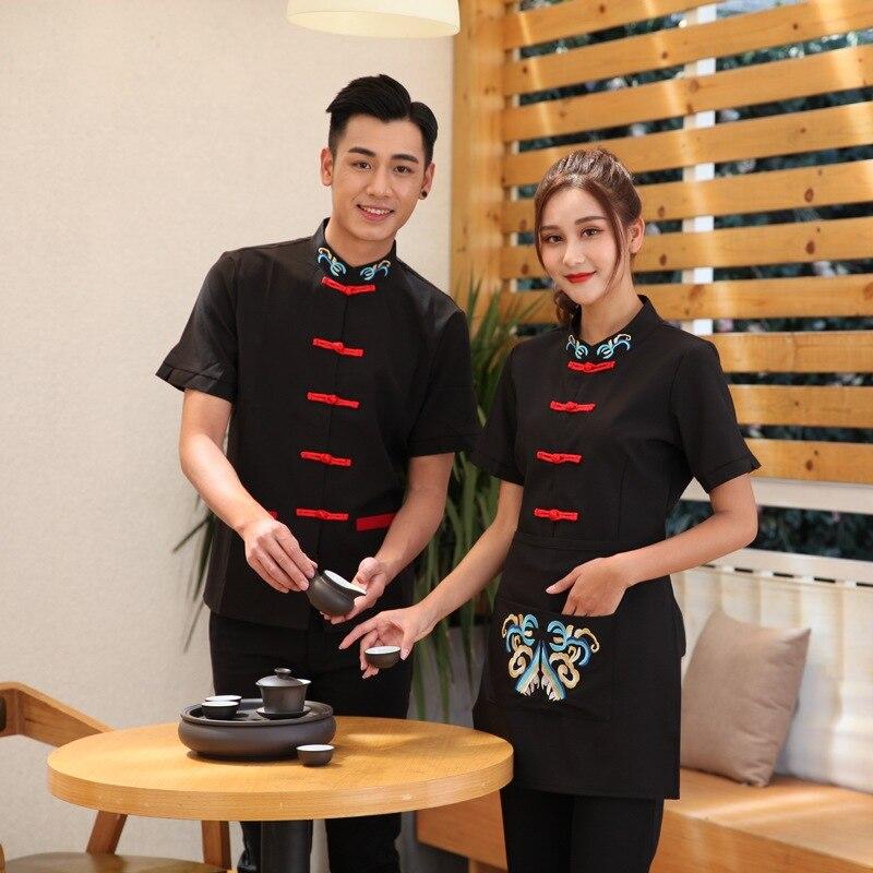 Hot Pot Restaurant Waiter Overalls Short Sleeve Fast Food Waiter Uniforms Summer Retro Cook Clothing Hotel Bakery Work Wear