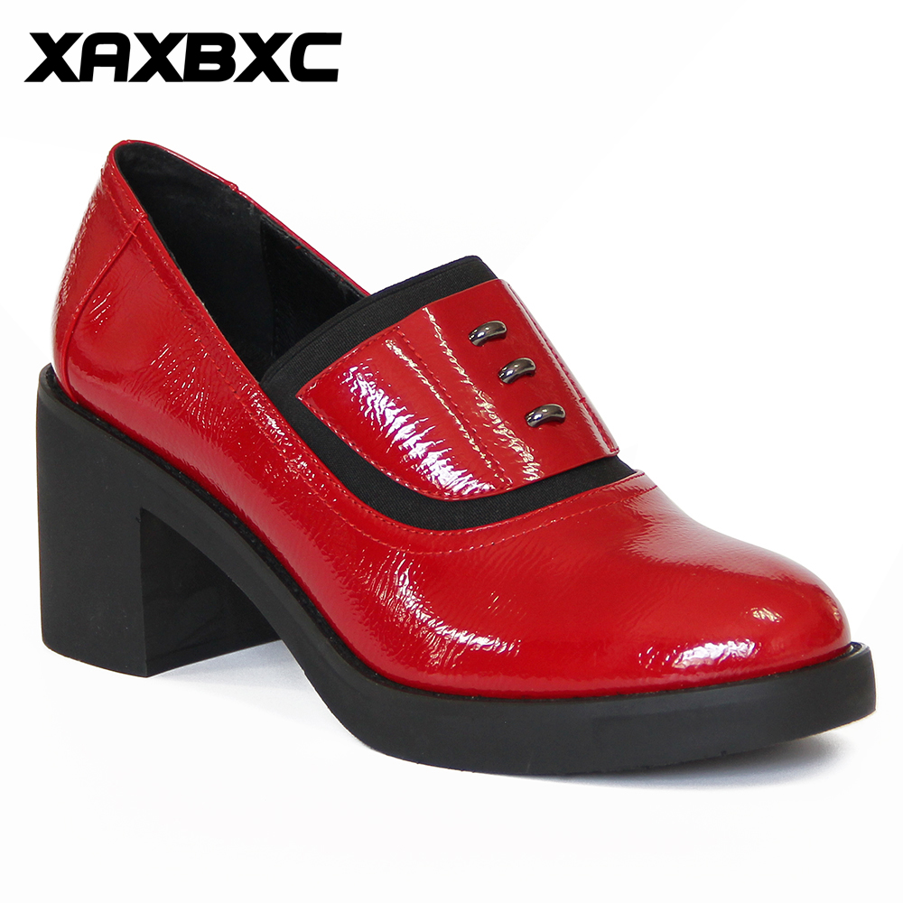 XAXBXC Retro British Style Leather Brogues Oxfords High Heels Women Pumps Slip-On Red Thick Heel Ladies Wedding Shoes