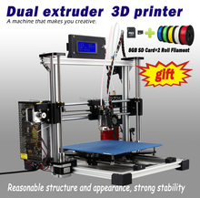 Double Nozzles Dual Extruder 3d printer reprap prusau i3 diy kit impressora 3d with LCD with 8GB SD card+2KG filament as gifts
