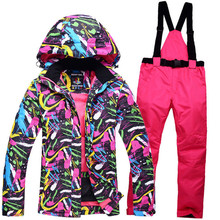 -30 cheapest ladies outdoor ski suits snowboard waterproof and windproof winter snow + bibs warm pants