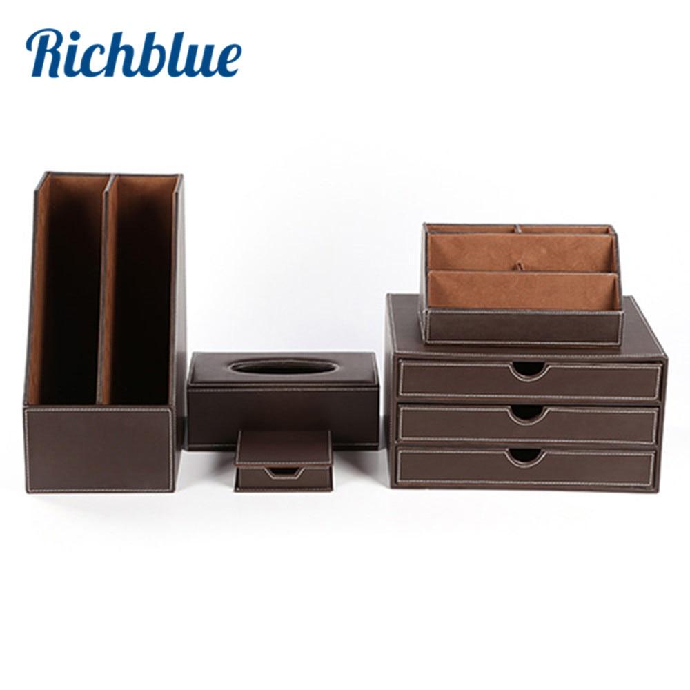 5 pièces moderne haut de gamme PU cuir fournitures de bureau ensembles papeterie boîte de rangement, porte-stylo ensembles de bureau noir T08