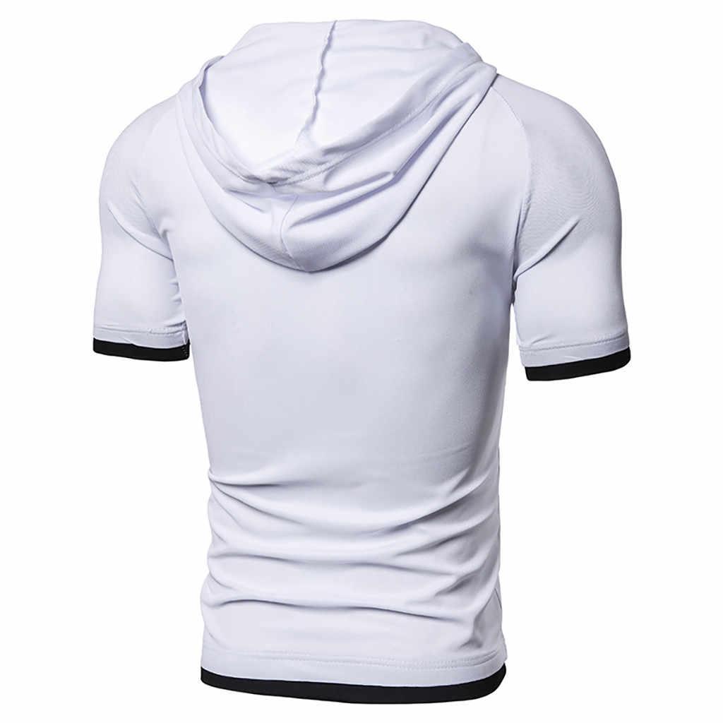 여름 T 셔츠 남성 하라주쿠 남성 캐주얼 솔리드 후드 반소매 스포츠 T 셔츠 V-neckTops 블라우스 camisetas hombre dropship