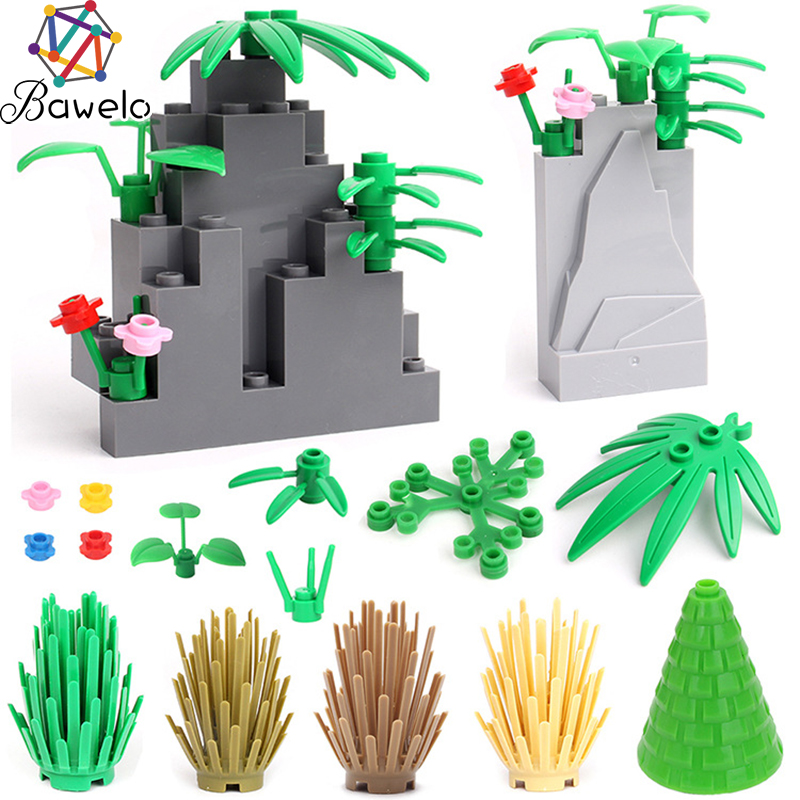 City Accessories Building Blocks Green Bush Flower Grass Trees Plants Leaves Dark Gray Hill Bricks Educational Toys For Children