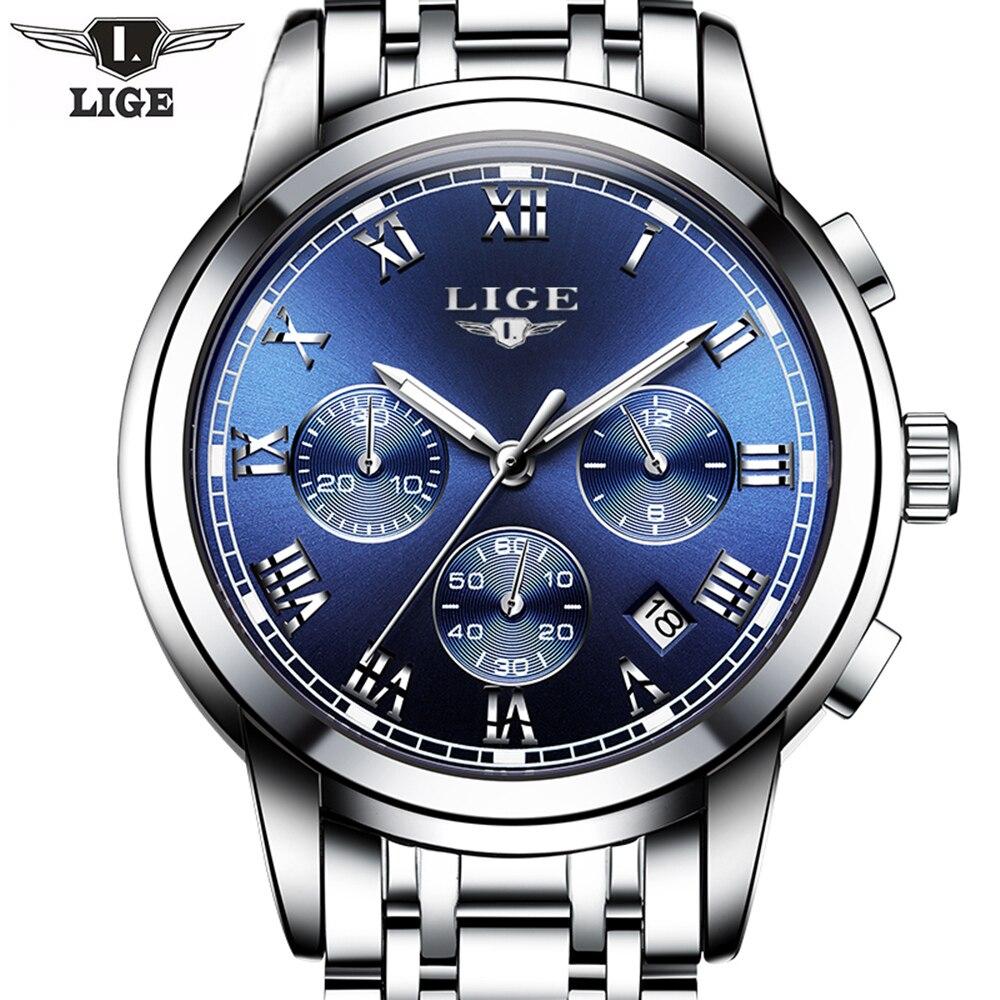 Wrist watches brands for mens - Relogio Masculino Lige Mens Watches Top Brand Luxury Fashion Business Quartz Watch Men Sport Full Steel Waterproof Wristwatch