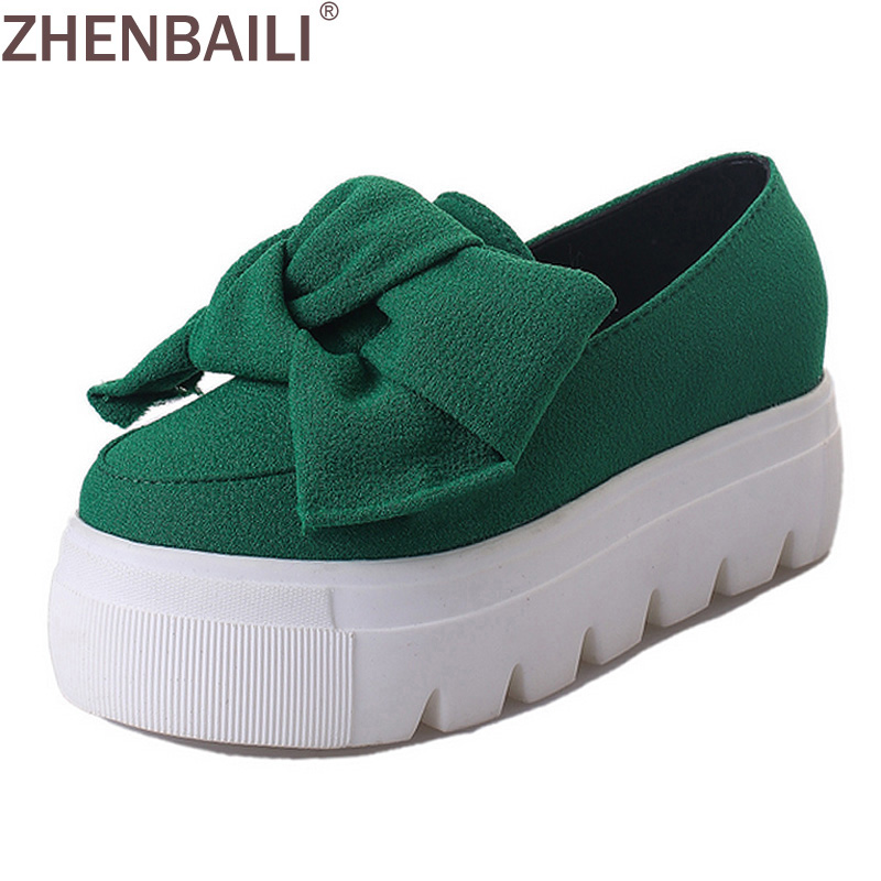 Womens Fashion Creepers Shoes Bow Women Flats Loafers Ladies Slip On Casual Flat Platform Solid Color