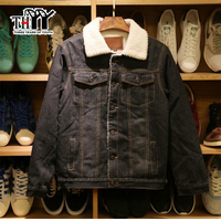 THYY New Men S Denim Jacket For Couple Black Warm Lamb Slim Winter Parkas Youth Large