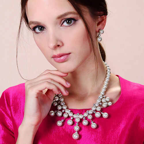 Viennois Silver Drop Crystal Rhinestone Faux Pearl Earrings Necklace Jewelry Set Wedding Party new women free shipping