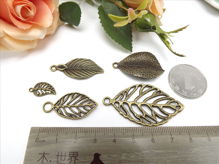 Jewelry Finding & Components Parts All Kinds Of Bronze Fittings Leaves Antique Brass Oh Woman Leaves #JZ106