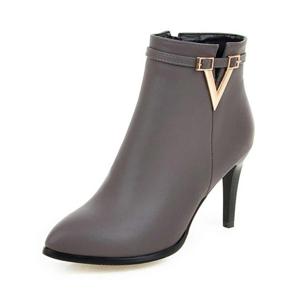 d8a05be7e0b Meotina Women Shoes High Heel Ankle Boots Martin Boots Zip Fall Spring  Pointed Toe High Heels