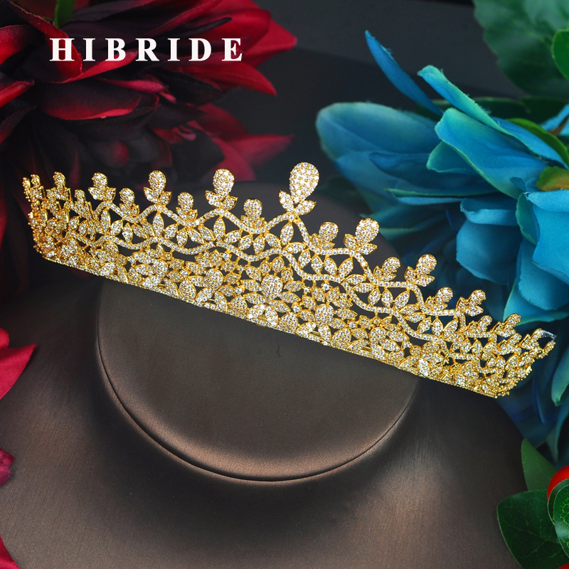 HIBRIDE Big Luxury Design Gold Color Princess Women Tiaras Crown Bridal Hair Accessories Jewelry Wedding Party