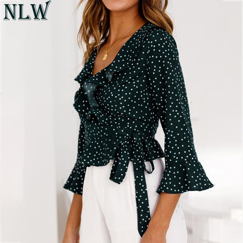 NLW V Neck Sexy Ruffle   Blouse     Shirt   Flare Sleeve Feminina Polka Dot Peplum Wrap Belt Crop Tops   Blouse   2018 Summer Autumn Clothes