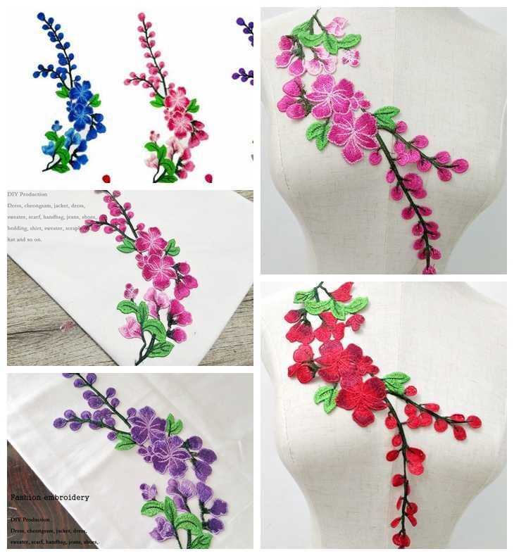 BÜYÜK Gül Çiçek Nakış Yamaları dikmek Etiket Giysi Parches Para La Ropa Aplike Nakış Çiçek Yamalar Aksesuarı