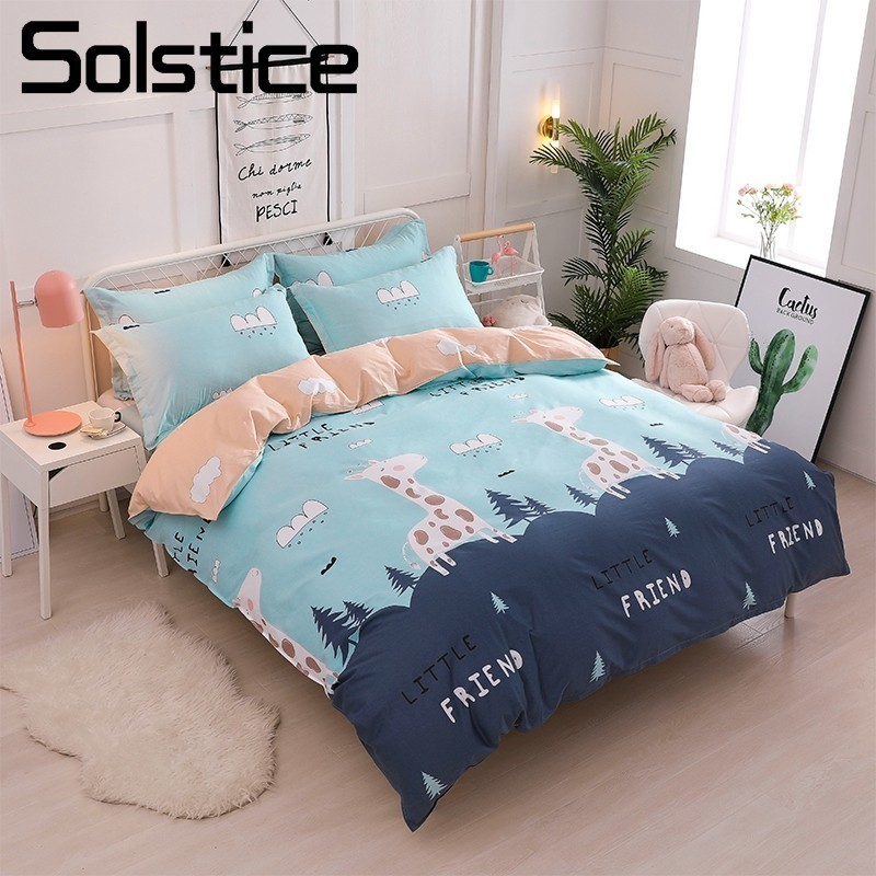Solstice Home Textile Kid Teen Bedding Set 100% Cotton Girls Boy Linen Giraffe Duvet Quilt Cover Pillowcase Bed Sheet King Queen