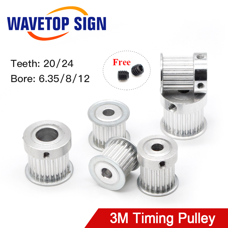 Timing Pulley HTD 3M Gear Pulley Synchronous 20 24 Teeth Width 15mm Bore 6.35 8 12mm For DIY CO2 Laser Engraving Cutting Machine