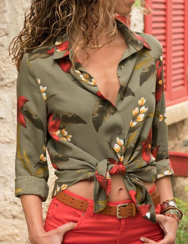 women blouse fashion female ladies winter vintage clothing flowr printed elegent long sleeve womens top autumn  shirt top