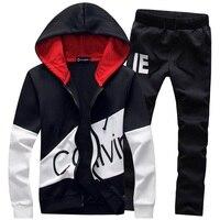 Fashion Men Two Pieces Sets Casual Tracksuit Male 2018 Sweatshirt Pants Suits Men Plus Size 5XL