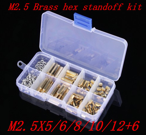 170pcs/lot M2.5X5/6/8/10/12+6 M2.5 Hex Nut Spacing Screw Brass Threaded Pillar PCB Motherboard Standoff Spacer Kit 50pcs m4 l 6mm copper brass pillars standoff circuit spacer pcb board nut screws hex round single cylinder head