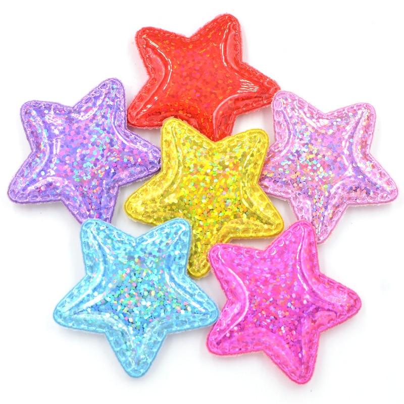 12 шт Shinng лазерной PU ткани мягкие нашивки сверкающие звезды аппликации для ремесла Одежда Швейные принадлежности «сделай сам» волосы бант Декор F55